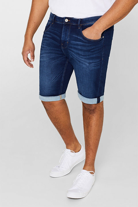Super stretch denim shorts in tracksuit fabric