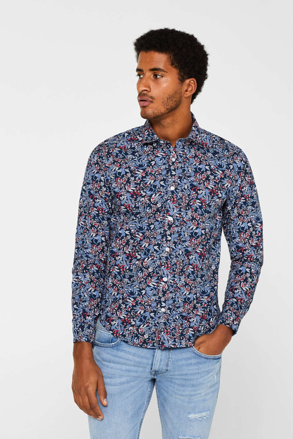 Esprit - Floral print shirt, 100% cotton