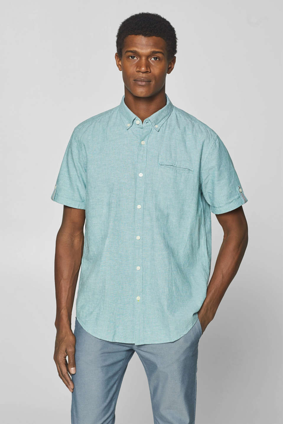 Esprit - Linen blend: striped short-sleeved shirt