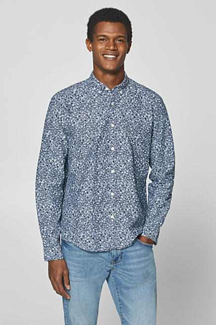 Linen blend: shirt with a floral print