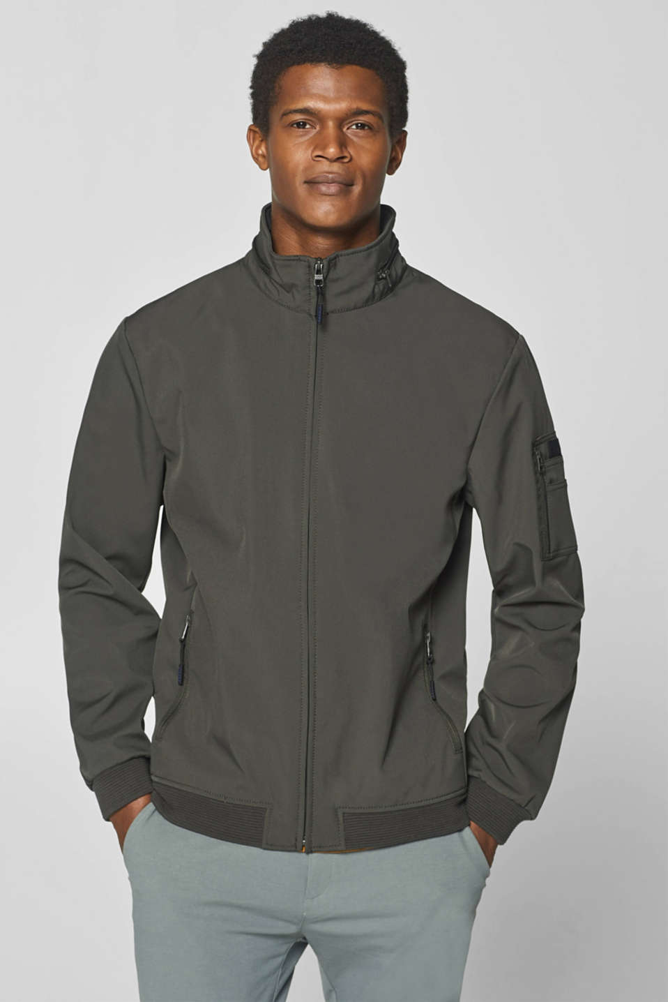 Esprit - Hooded bomber jacket with ribbed borders