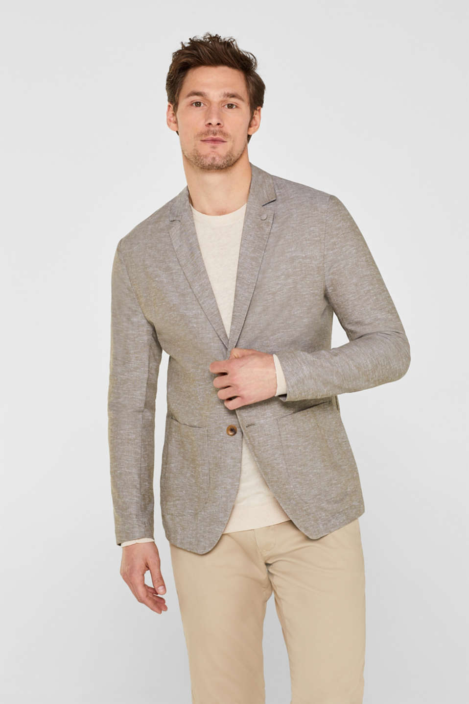 Esprit - Linen blend: unlined tailored jacket