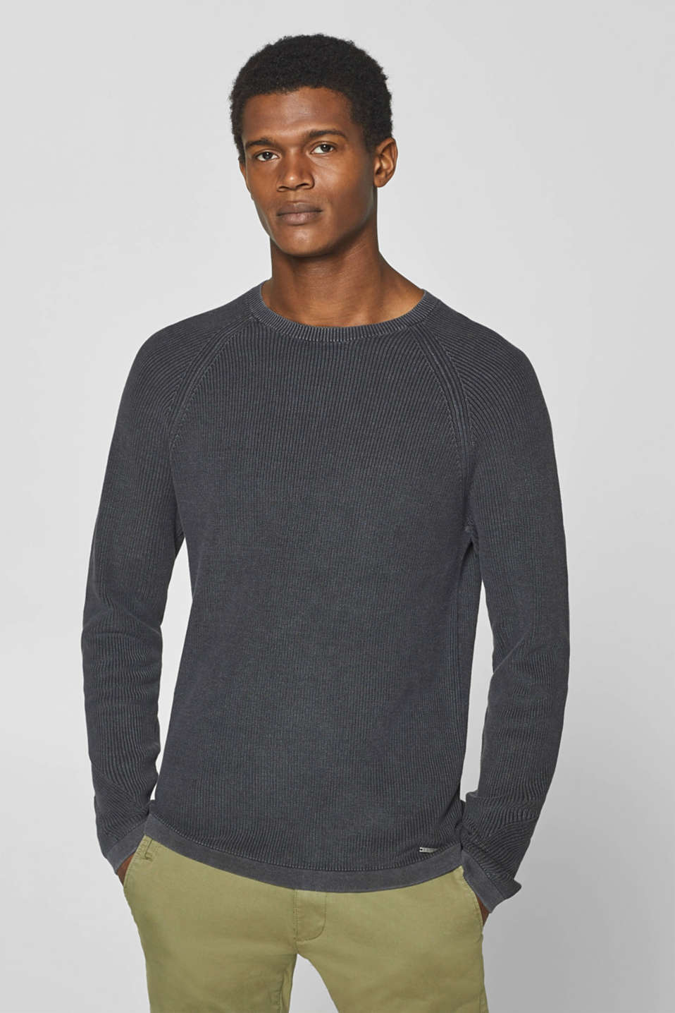 Esprit - Jumper with ribbed pattern, 100% cotton
