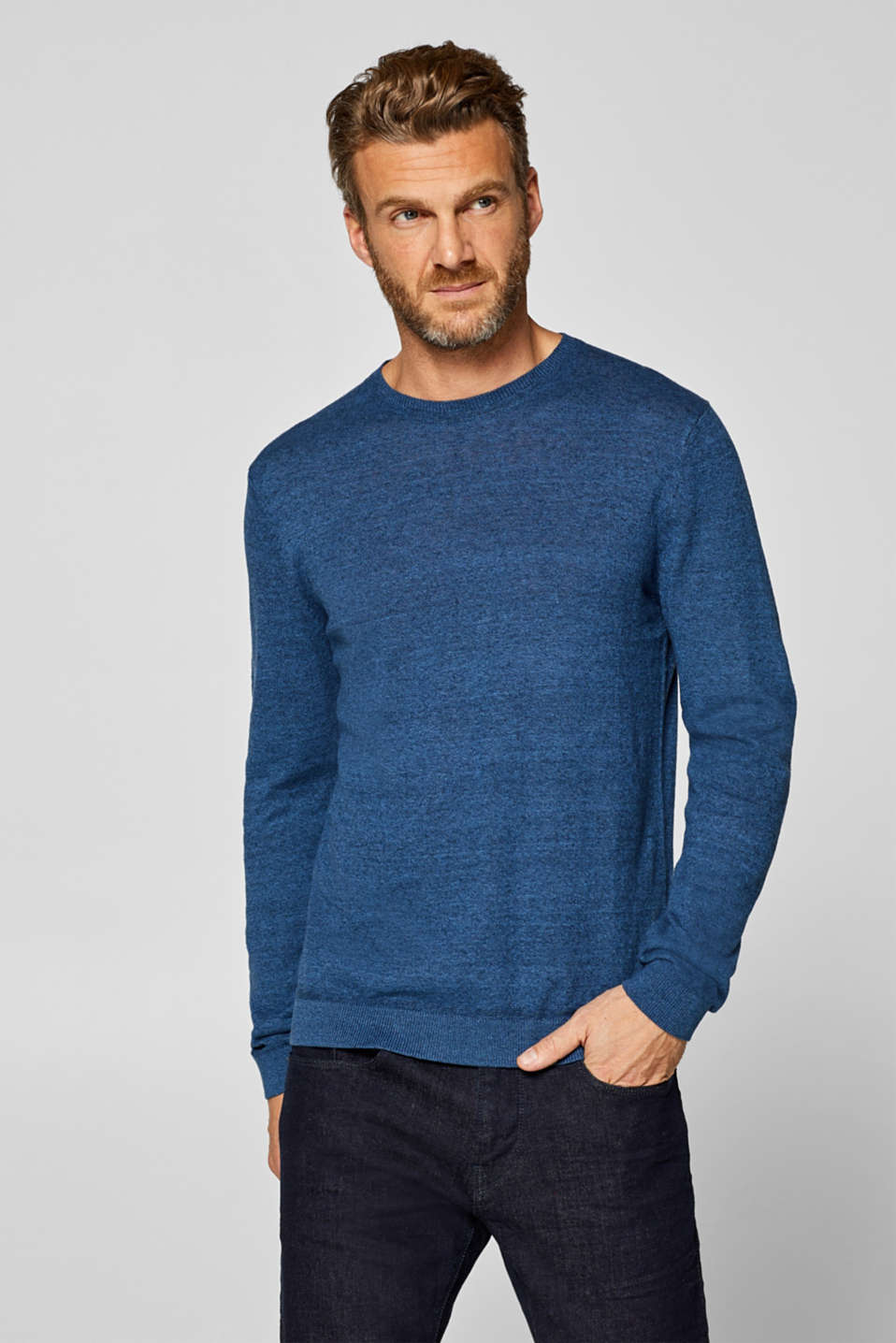 Esprit - Aus Leinen-Mix: Two-Tone-Sweater