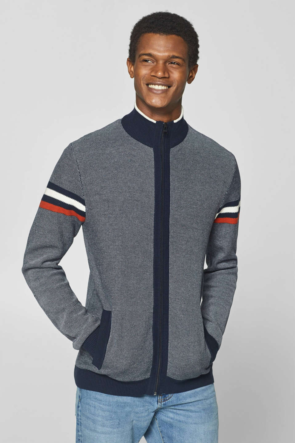 Esprit - Zip-up cardigan with stripes, made of 100% cotton