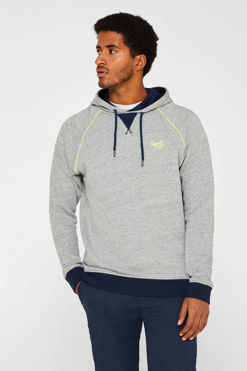 Esprit - Hoodie with neon piping, made of blended cotton