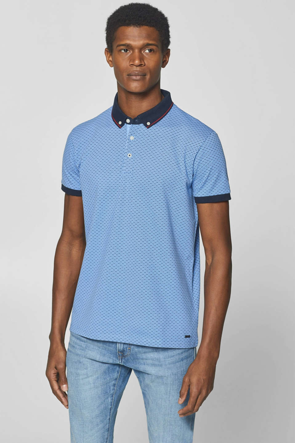 Esprit - Piqué polo shirt with a button-down collar