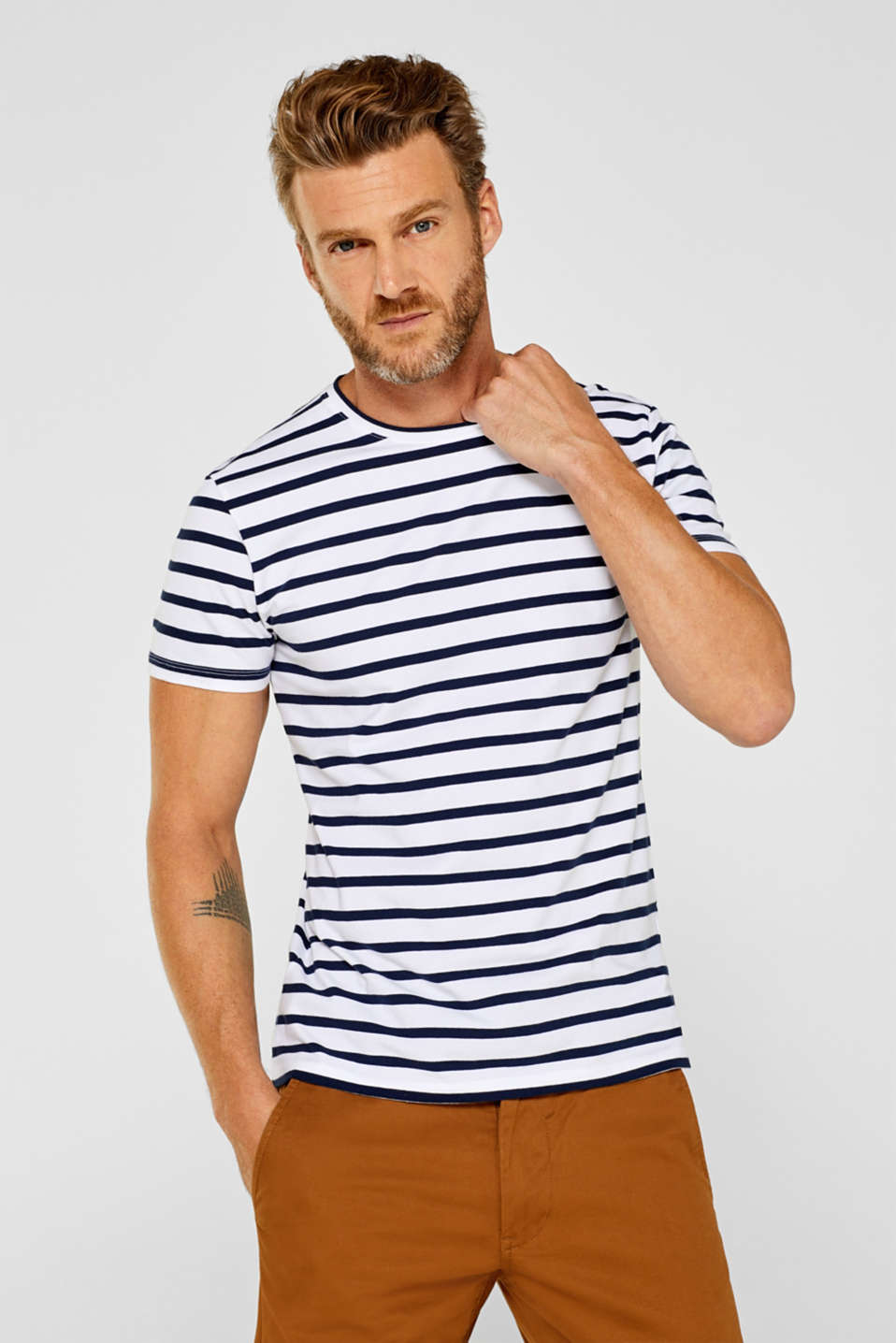 Esprit - Striped jersey top in stretch cotton