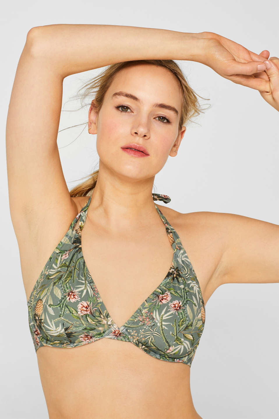 Unpadded underwire top with a colourful print, LIGHT KHAKI, detail image number 2