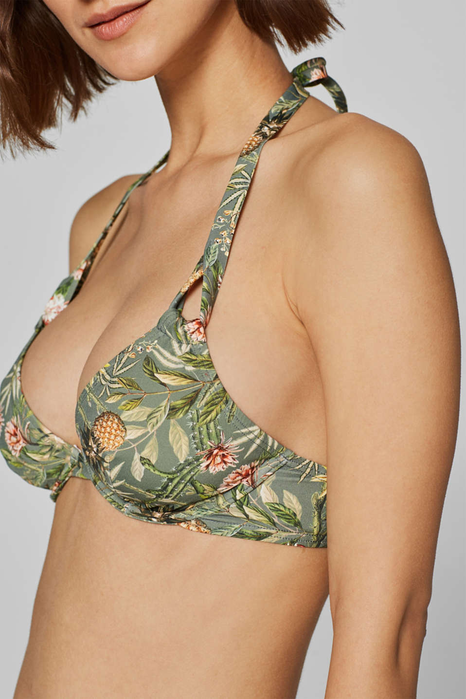 Unpadded underwire top with a colourful print, LIGHT KHAKI, detail image number 3