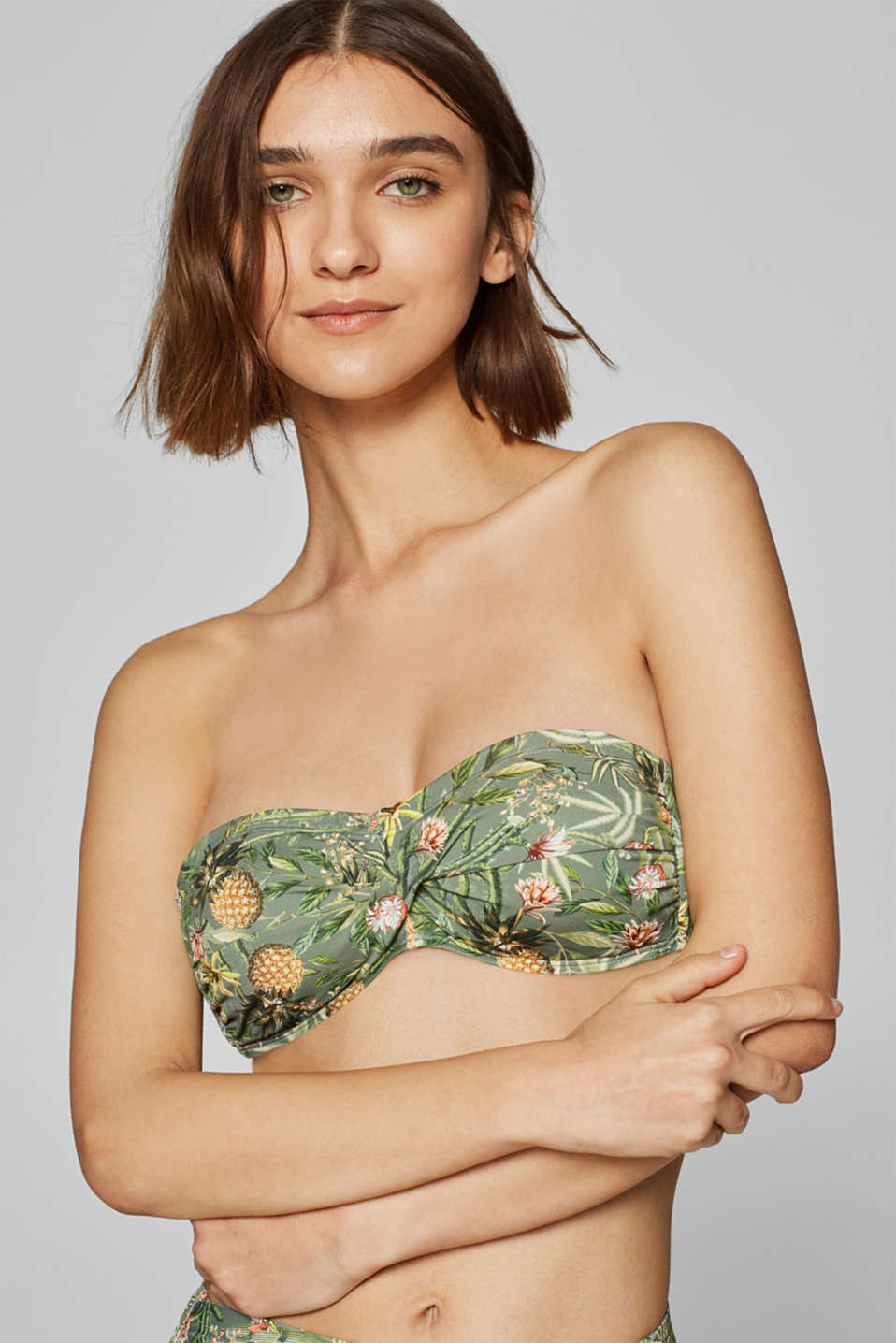Esprit - Padded bandeau top with print