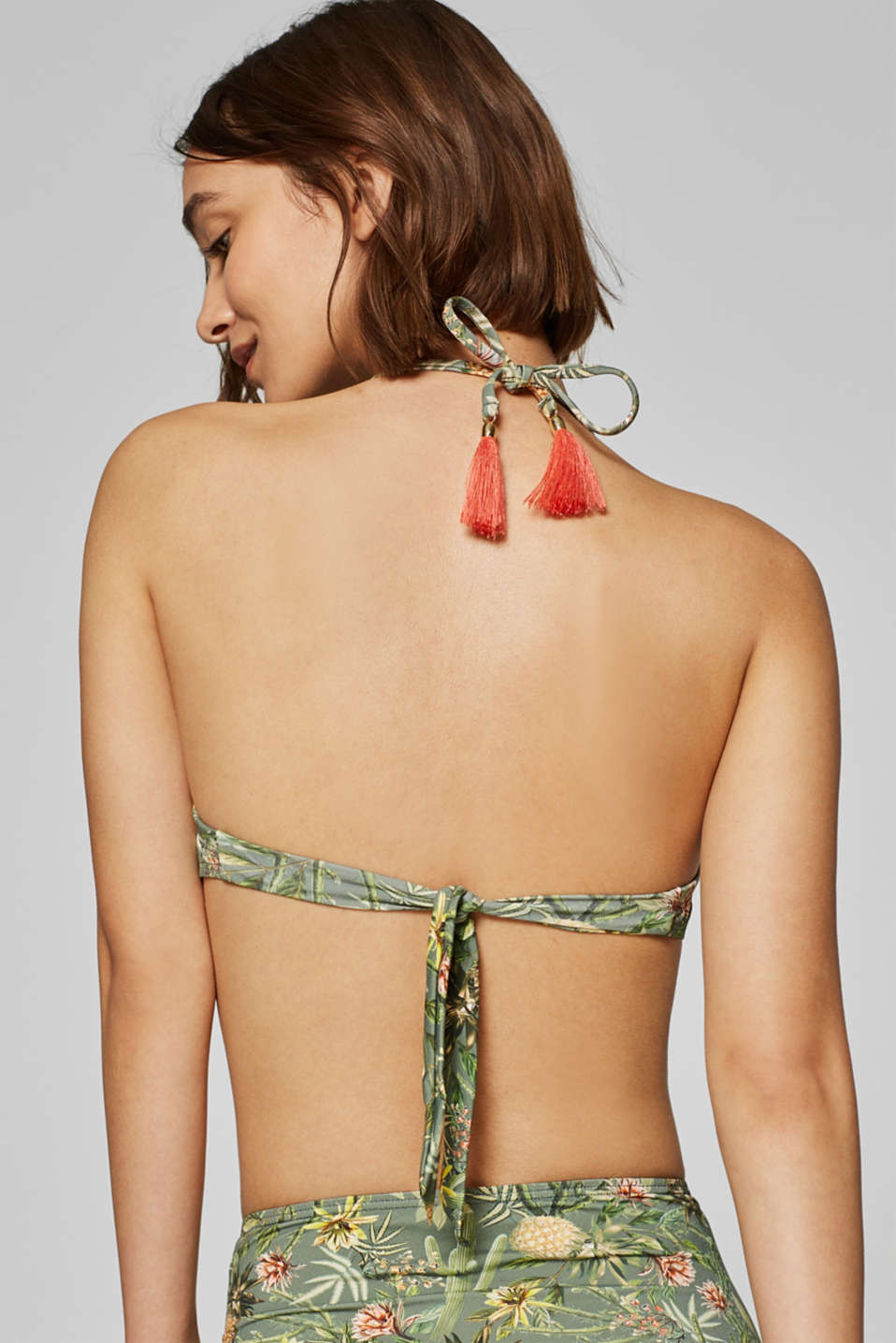 Padded bandeau top with print, LIGHT KHAKI, detail image number 1