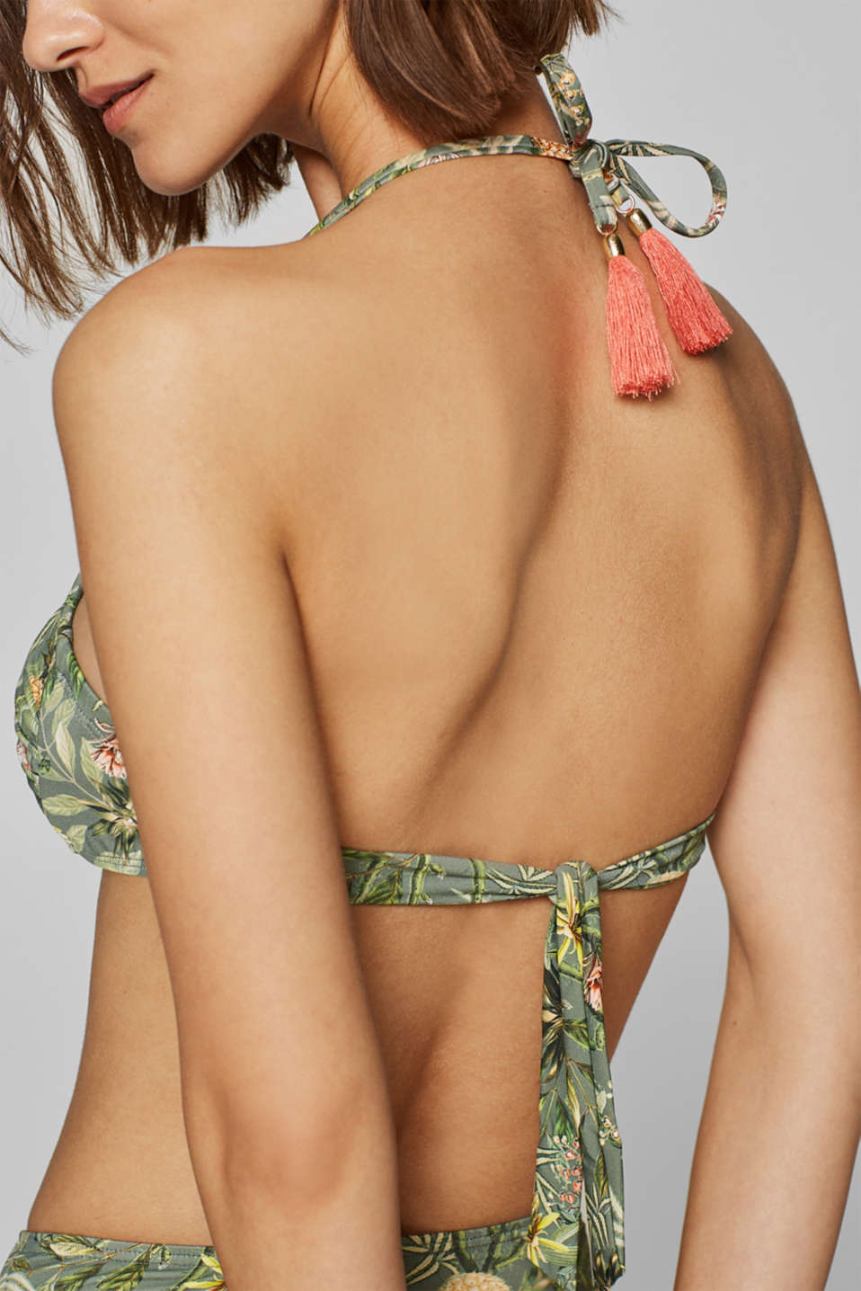 Padded bandeau top with print, LIGHT KHAKI, detail image number 2