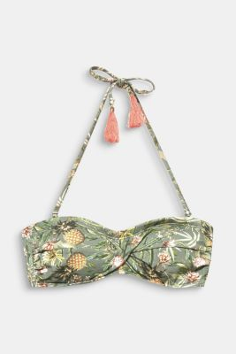 Padded bandeau top with print, LIGHT KHAKI, detail
