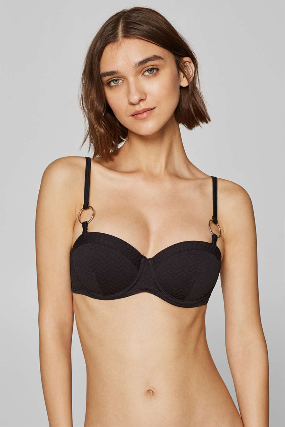 Esprit - Adjustable underwire bikini top with a zigzag texture