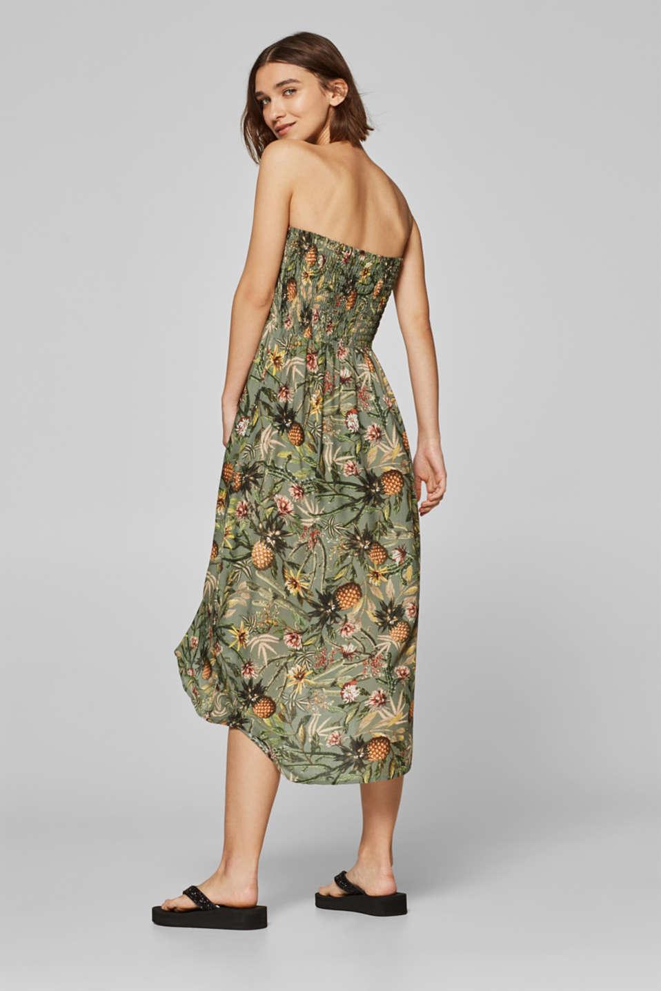 Off-shoulder smocked dress with print, LIGHT KHAKI, detail image number 1