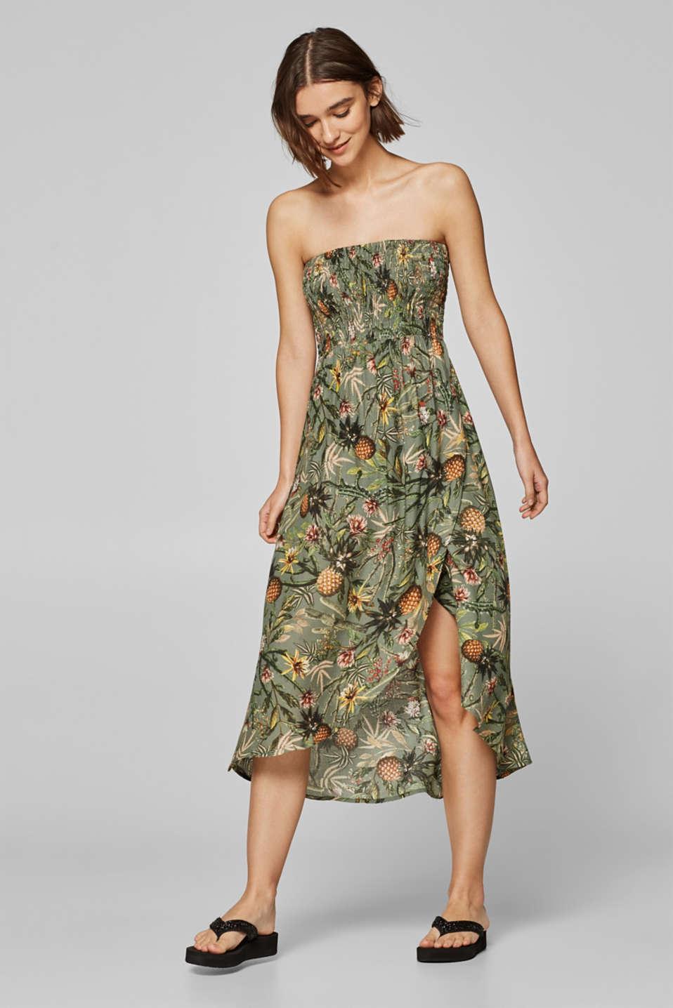 Off-shoulder smocked dress with print, LIGHT KHAKI, detail image number 2