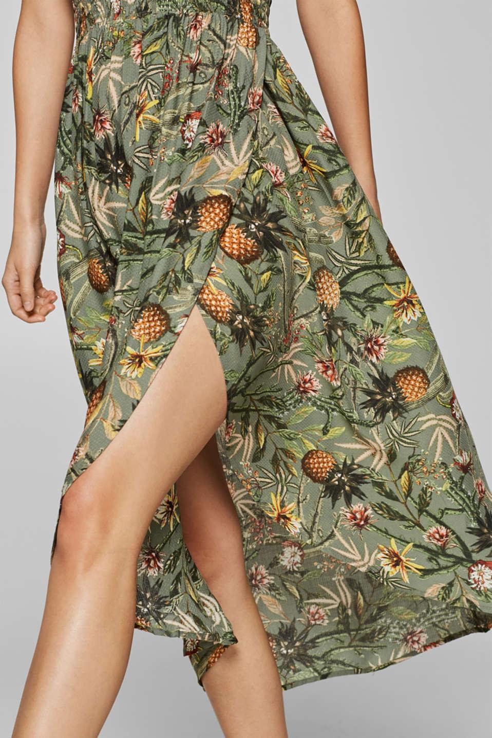 Off-shoulder smocked dress with print, LIGHT KHAKI, detail image number 4