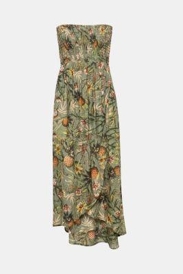 Off-shoulder smocked dress with print, LIGHT KHAKI, detail