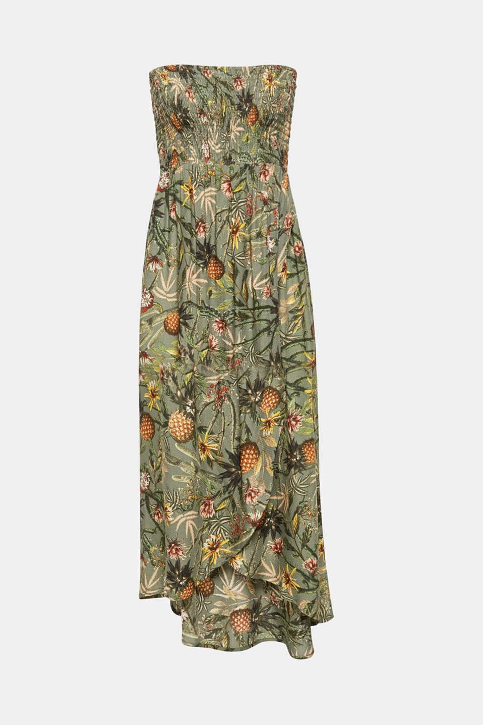 Off-shoulder smocked dress with print, LIGHT KHAKI, detail image number 3