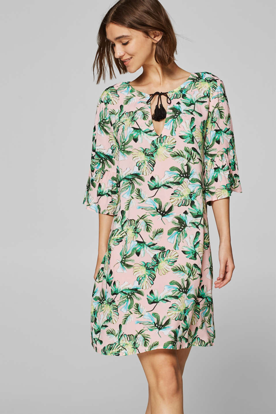 Esprit - Tunic dress with an exotic print