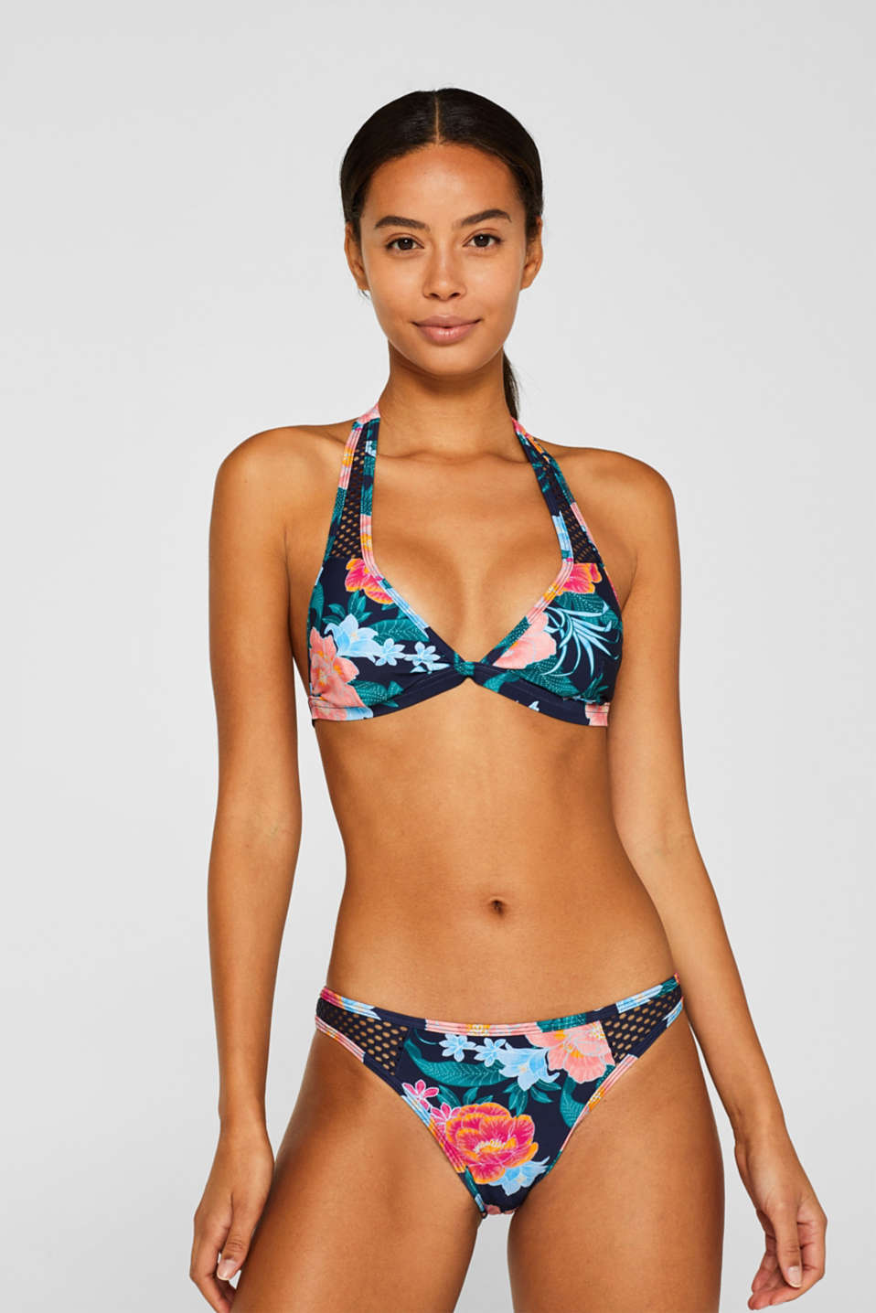 Esprit - Printed padded top with net details