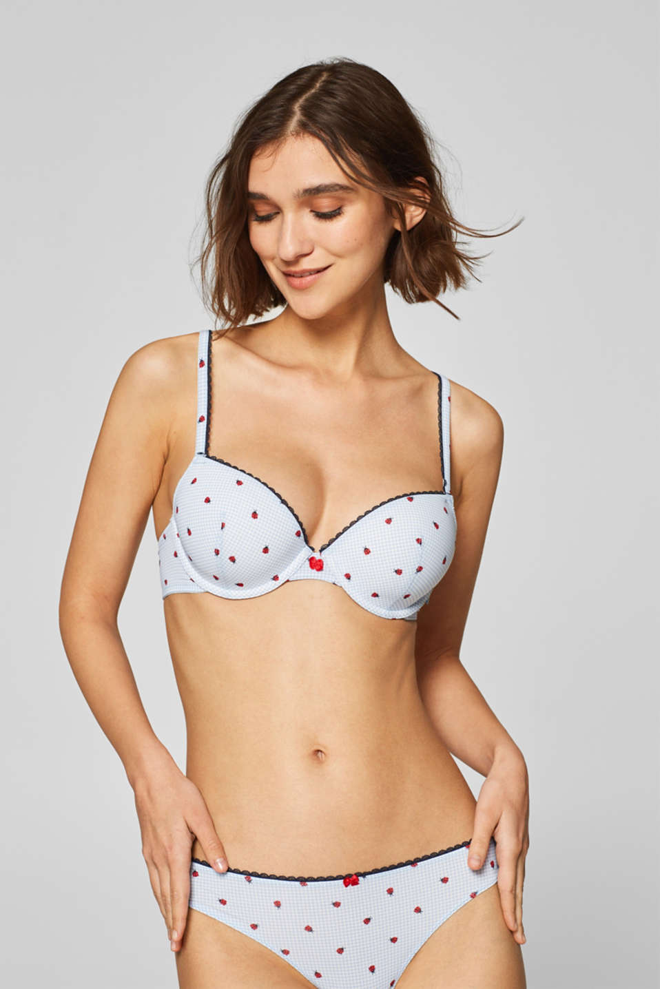 Esprit - Padded underwire bra with a ladybird print
