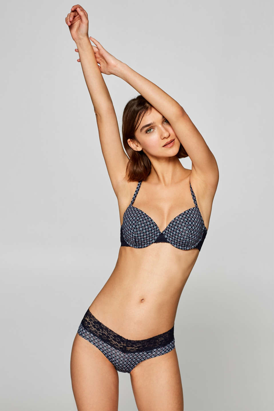 Esprit - Padded underwire bra with a mini print