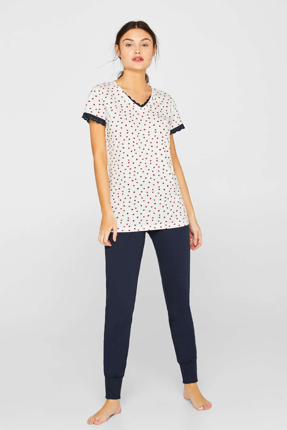 Esprit - Printed jersey pyjamas, 100% cotton