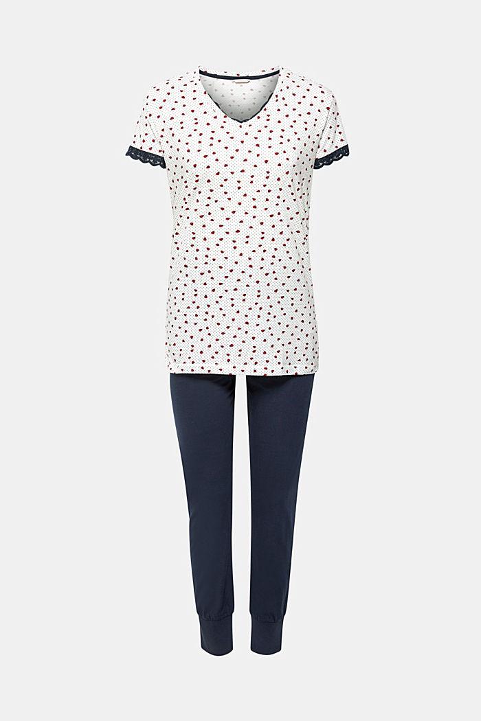 Jerseyowa piżama z nadrukiem, 100% bawełny, OFF WHITE, detail image number 0