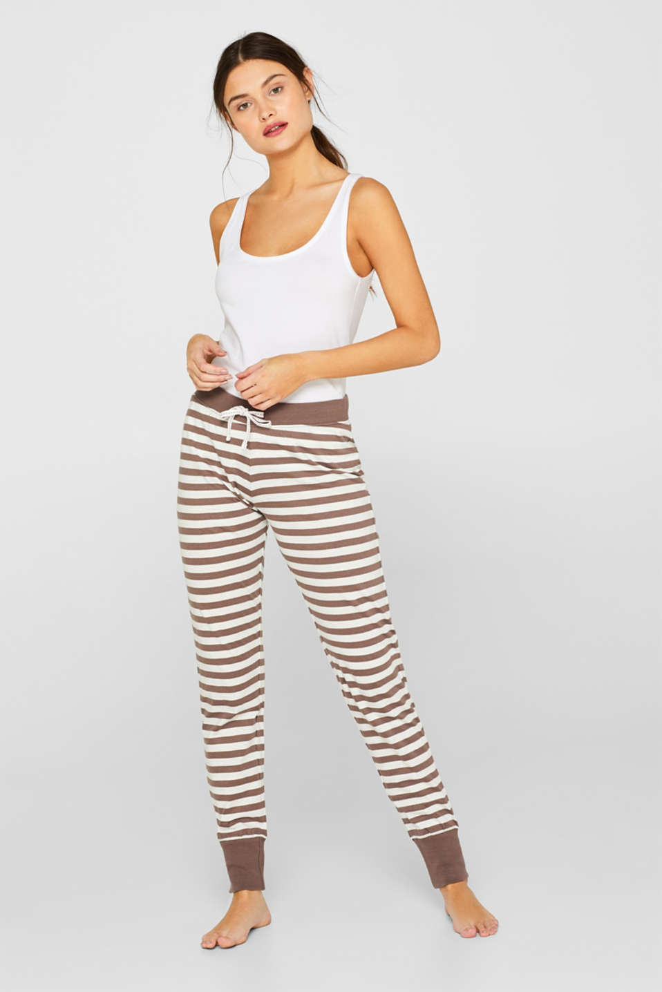 Esprit - Jersey trousers with a striped pattern, 100% cotton