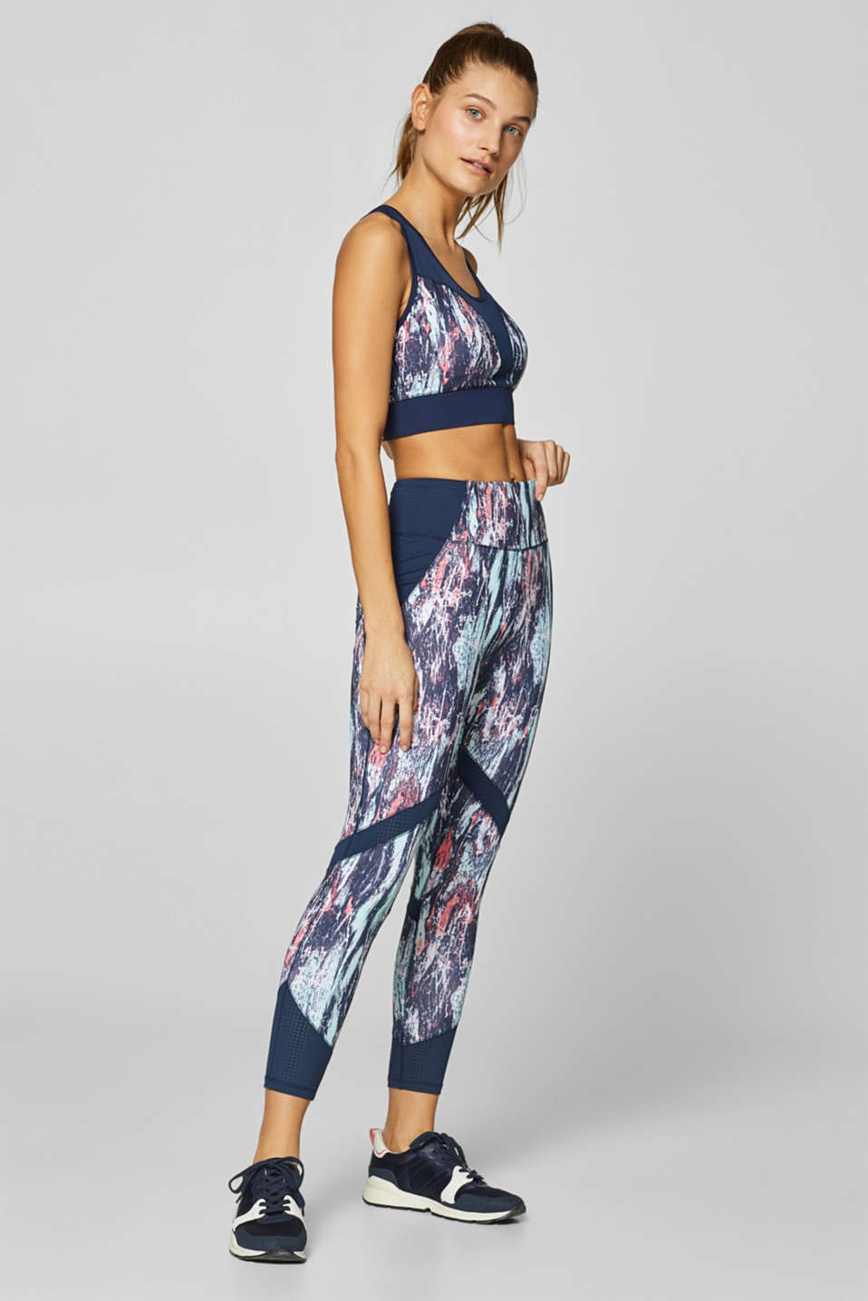 Esprit - Leggings active con stampa di graffiti, E-DRY