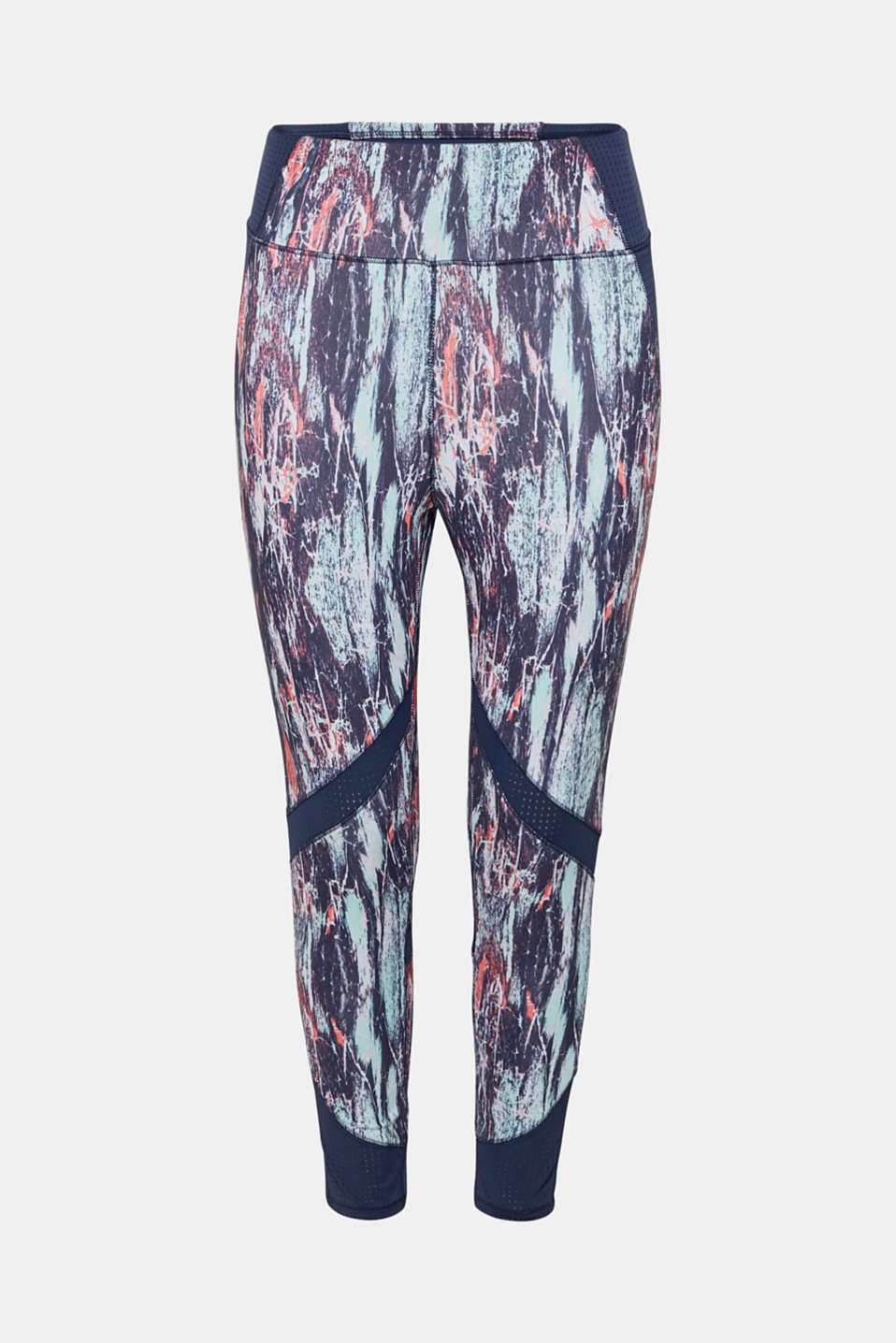 Active leggings with a graffiti print, E-DRY, LIGHT AQUA GREEN 3, detail image number 6