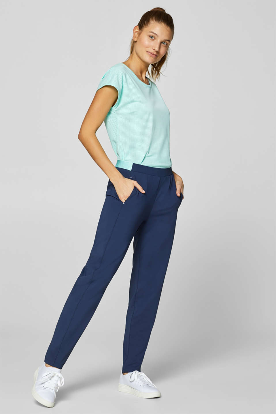 Esprit - Active trousers with contrasting waistband, E-DRY