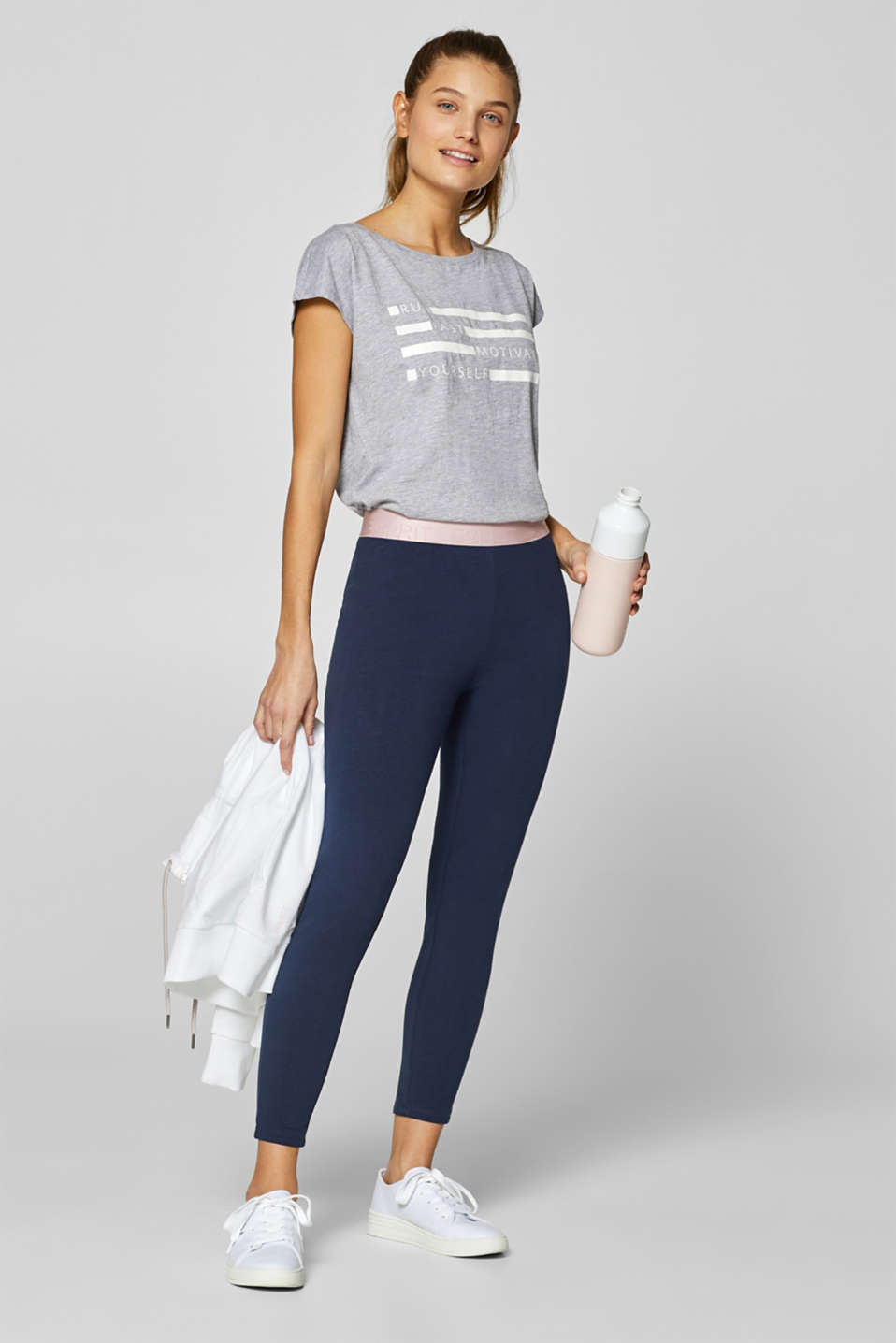 Esprit - Cropped leggings with logo elastic band