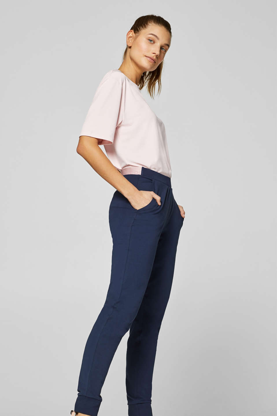 Stretch jersey trousers with a two-piece waistband