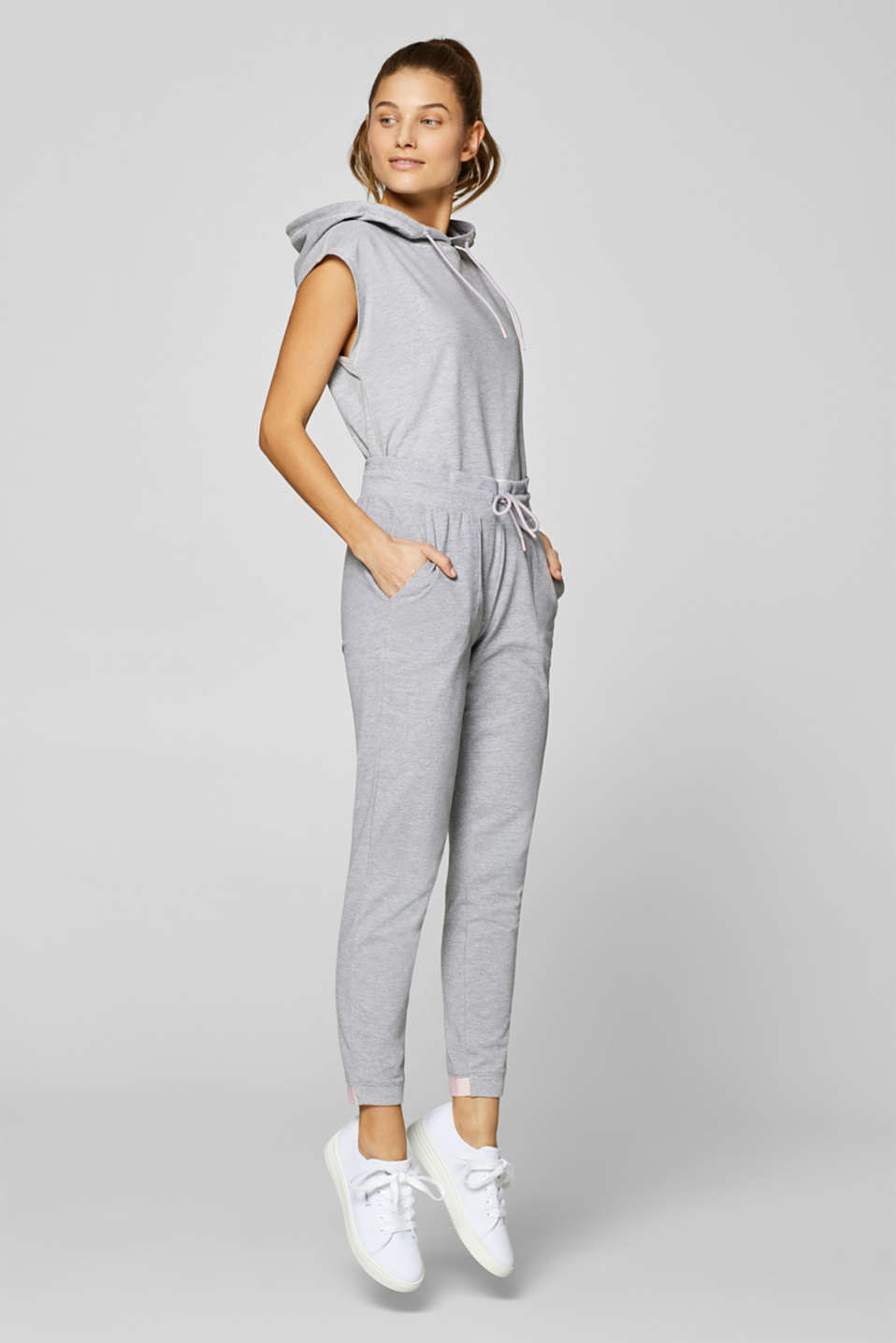 Esprit - Melange jersey trousers with contrast borders