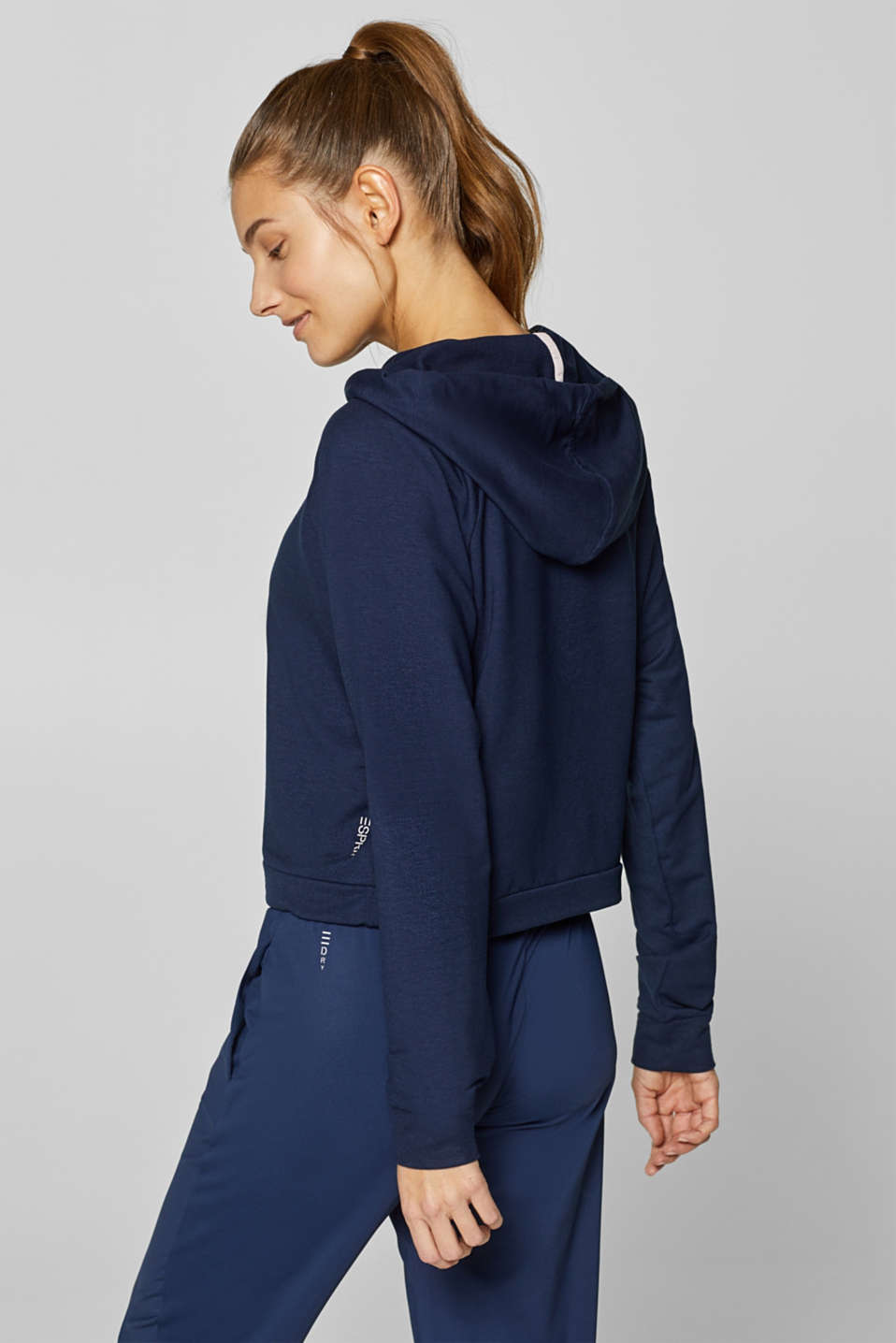 Soft stretch hoodie in a boxy design, NAVY, detail image number 3