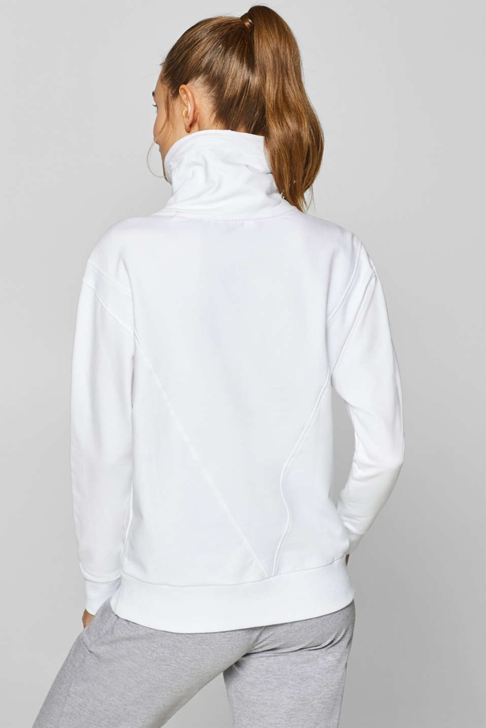 Sweatshirt with an extra deep collar, WHITE, detail image number 2