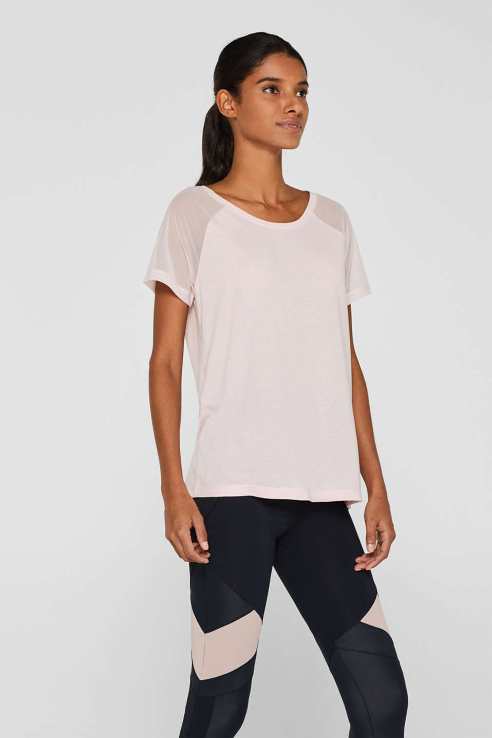 Esprit - Top with mesh raglan sleeves