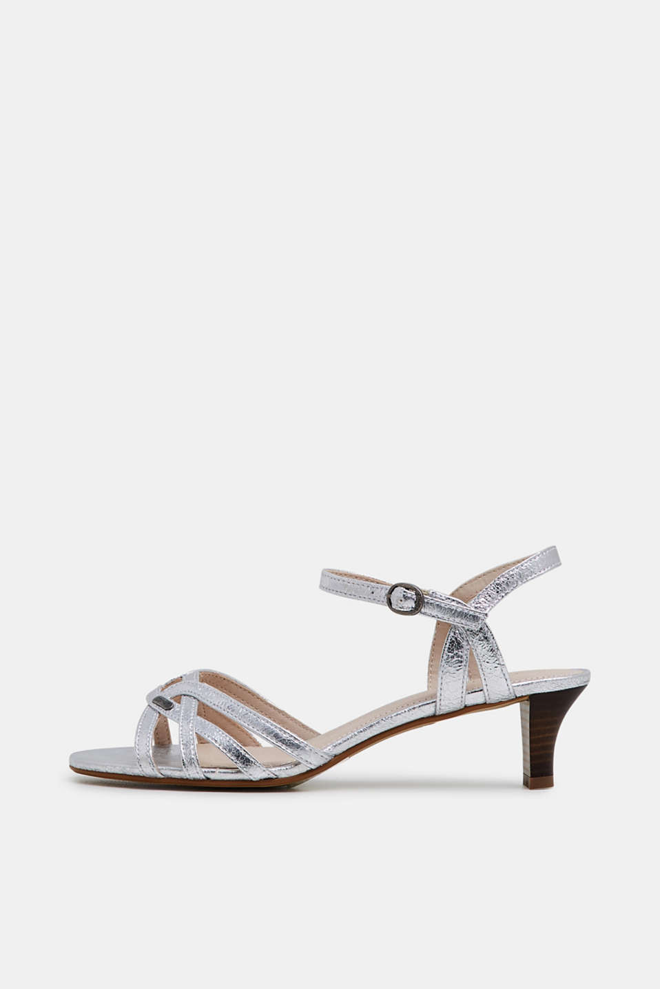 Esprit - Metallic-Sandalette in gecrashter Leder-Optik