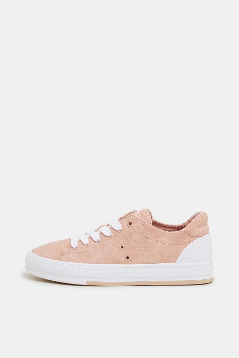 Esprit - Lace-up trainers in faux nubuck leather