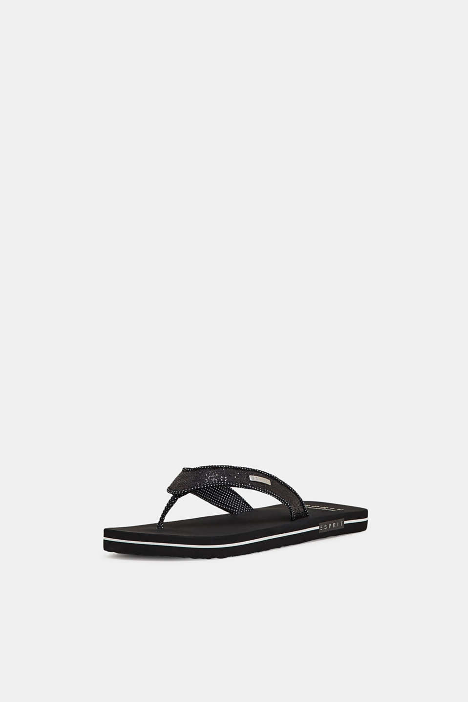 Slip slops with glittery straps, BLACK, detail image number 2