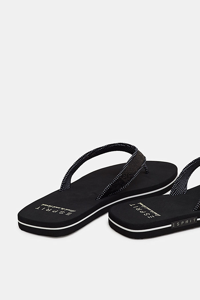 Slip slops with glittery straps, BLACK, detail image number 3