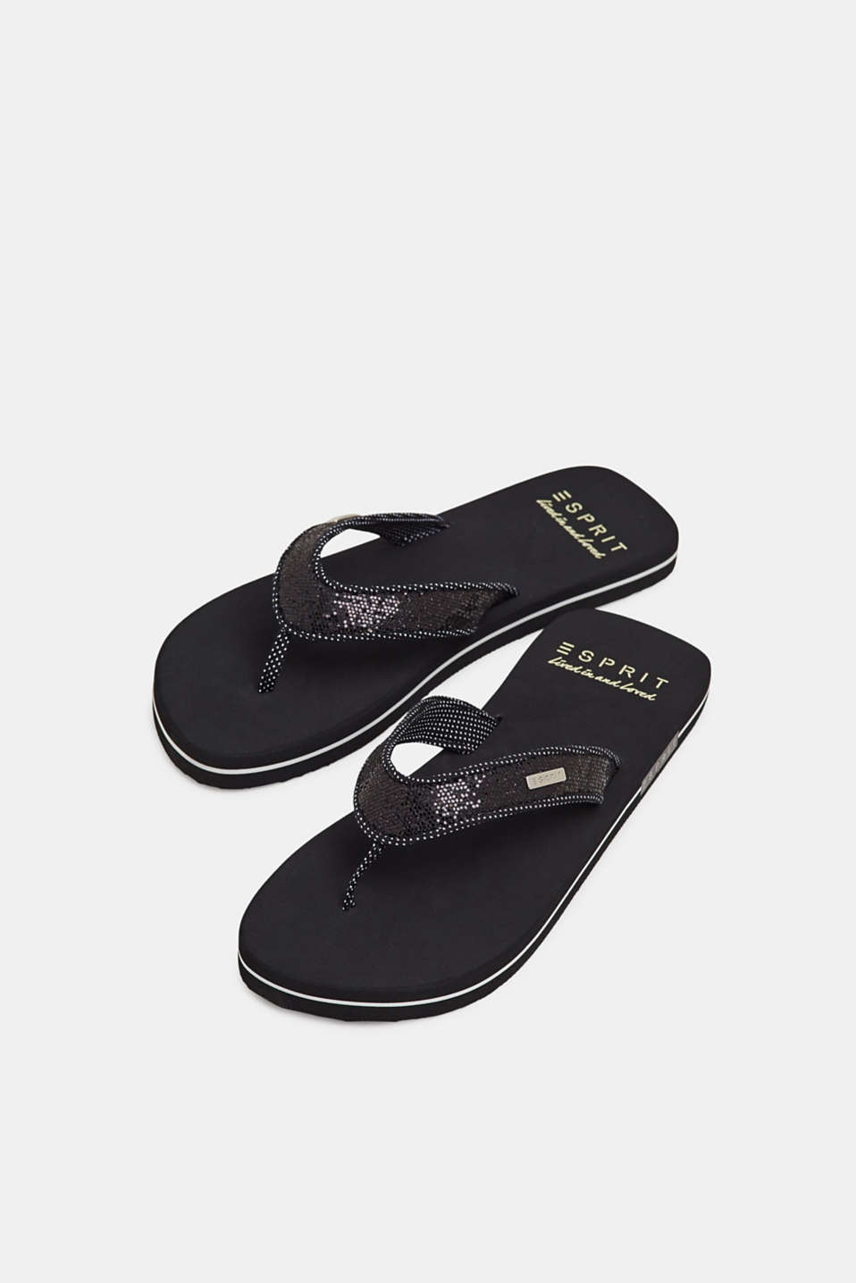 Slip slops with glittery straps, BLACK, detail image number 4