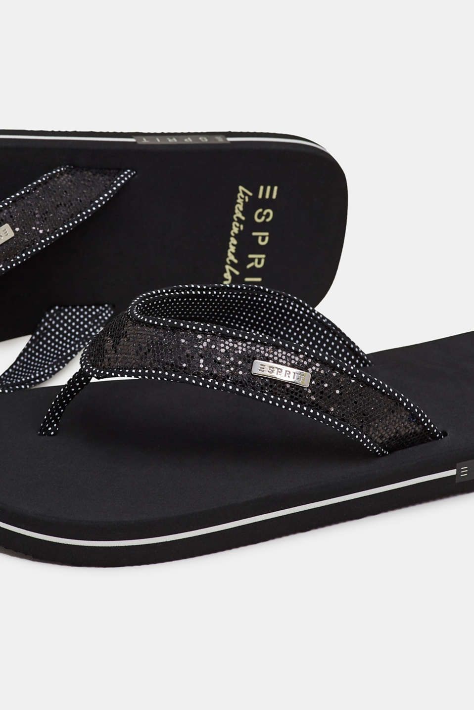 Slip slops with glittery straps, BLACK, detail image number 5
