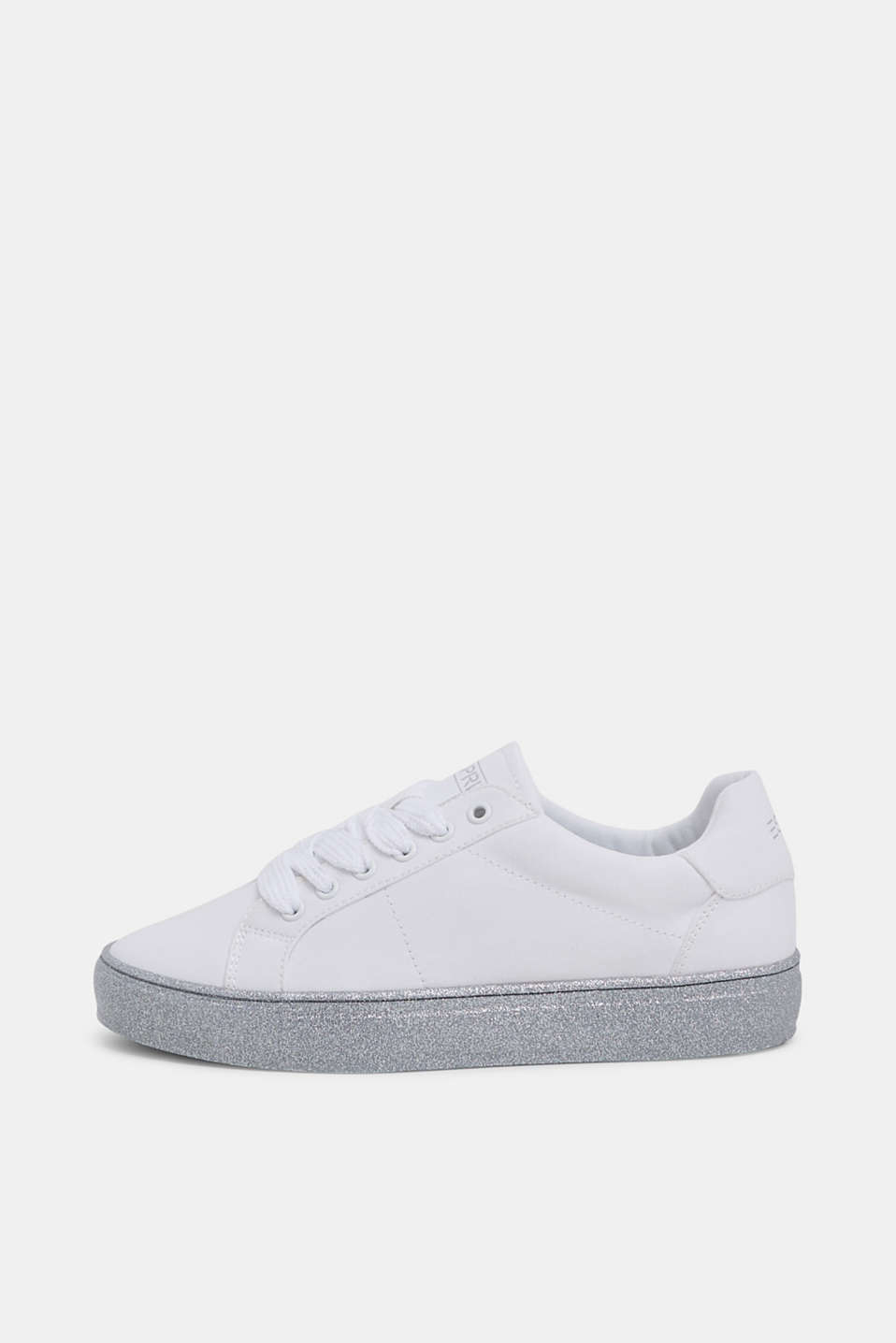 Esprit - Canvas sneakers met glitterzool