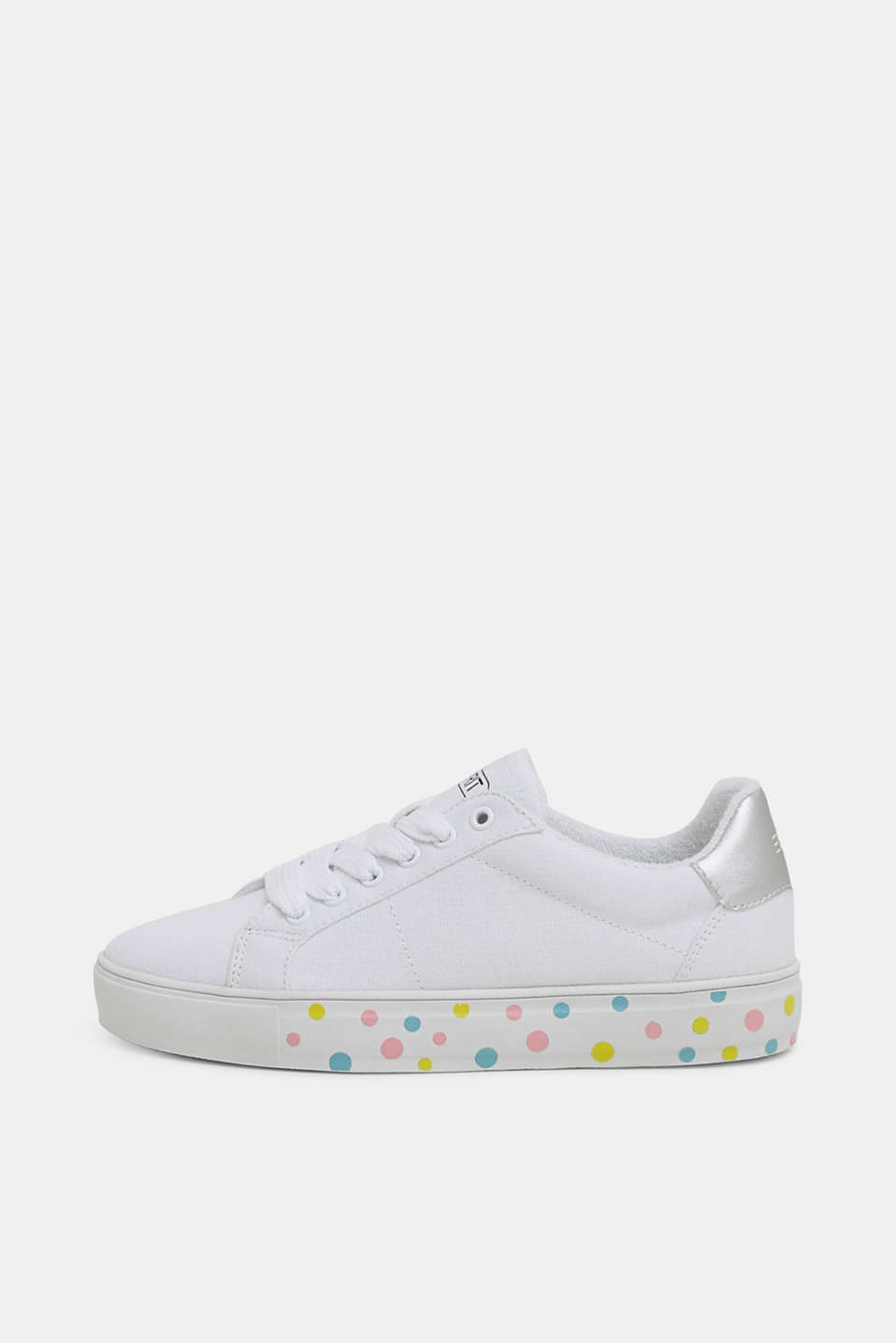 Canvas trainers with a polka dot sole
