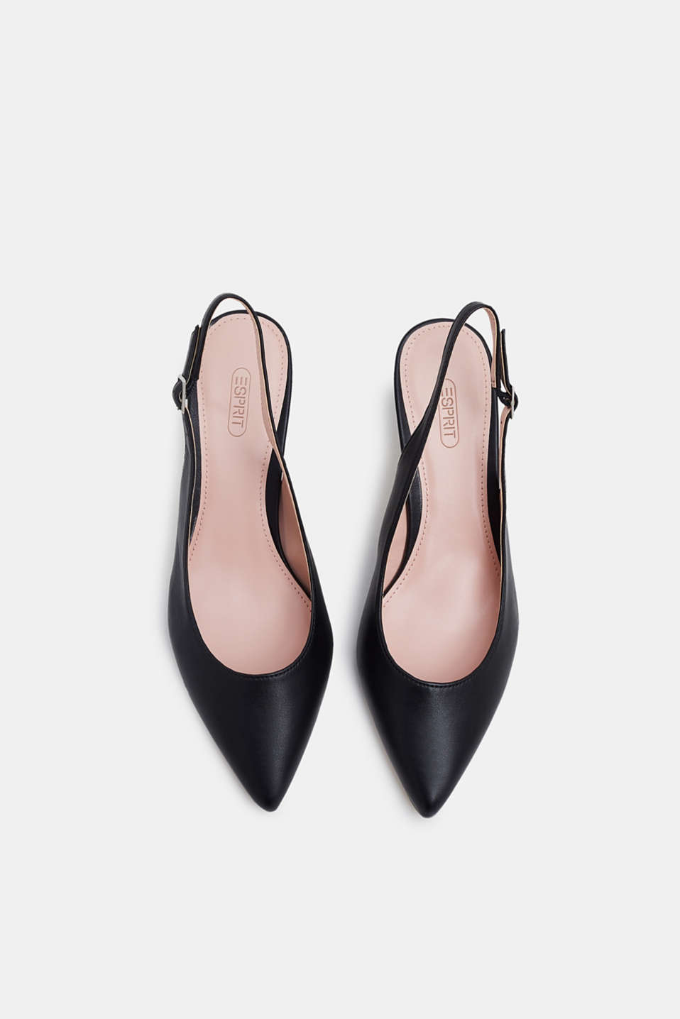 Slingback court shoes in faux leather, BLACK, detail image number 1