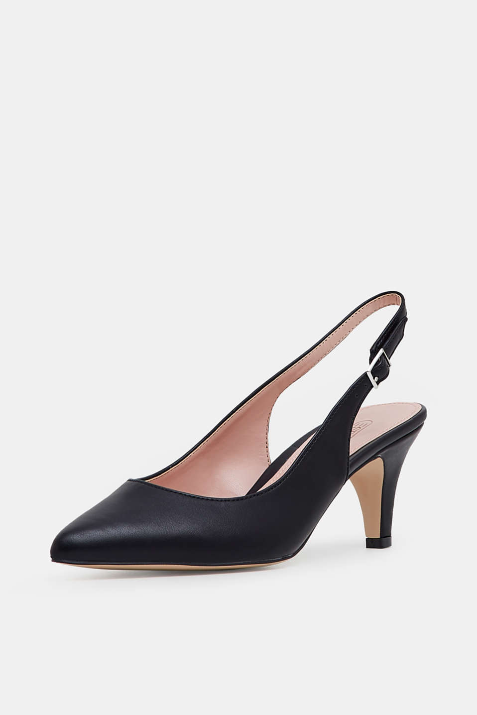 Slingback court shoes in faux leather, BLACK, detail image number 2